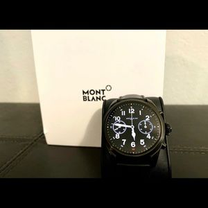 Summit 2 Black Steel and Leather Montblanc Watch
